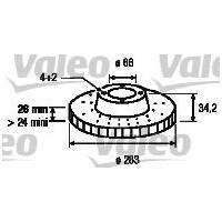 Valeo 186693 Ön Fren Aynası Part 08>Berlıngo 99>307 00>207 06>308 07>C3 02>C4 04>Xsara(00-05)(283X26x4dlxhavalı)