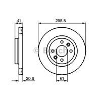Bosch 0986478124 Ön Fren Aynası (Orta) Mgn 96>Logan 04>Kng 1.5Dci Clıo I-Iı91>Twng 07>R19 (258.5X20.6X4dlxhavalı)