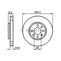 Bosch 0986478730 Ön Fren Aynası Corsa C Z14 Y17dt(00-03)1.3Cdti03=>Combo 01-03 1.3Cdti 04=>Tigra 04=>(260X23.9X6dl)