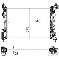 Gva 3129440 Radyatör Nemo 08>Bıpper 08>Fıorıno 08> 1.4 (Mek+Ac+Klimasız) (540X378x23)