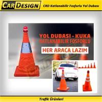 AutoCet Flaşörlü Katlabilir, Reflektörlü ve Fosforlu Yol Dubası (45 cm)