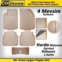 CarDesign Çıt Çıtlı Paspas Seti BEJ 9 Parça (Her Araca Uygun) 4 Mevsim Kullanım