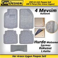 CarDesign Çıt Çıtlı Paspas Seti GRİ 9 Parça (Her Araca Uygun) 4 Mevsim Kullanım