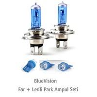 Bluevision H4 100 W + 2 Park Ampüllü Gerçek Beyaz 011212