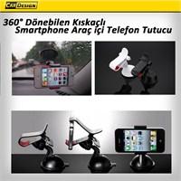 Dönebilen kıskaçlı smartphone araç içi telefon tutucu siyah