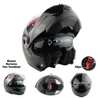 LS2 Motosiklet Kaskı Çene Açılır FF370 Easy Parlak Siyah L Beden
