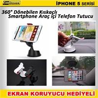 CRD iPhone 5 Kıskaçlı Araç İçi Telefon Tutacağı (360° Dönebilir)