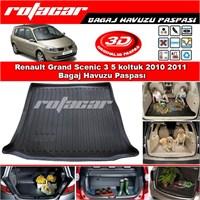 Renault Grand Scenic 3 5 koltuk 2010 2011 Bagaj Havuzu Paspası BG0156