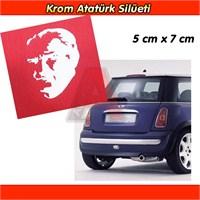 AutoCet Atatürk Silüeti Aliminyum Krom Sticker Arma 3234a