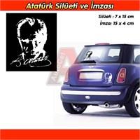 AutoCet BEYAZ K.Atatürk ve Silueti İmza Sticker 3240a