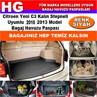 Citroen C3 Kalın Stepneli 2010 2013 Siyah Bagaj Havuzu Paspası 38708