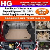 Focus 3 Sedan İnce Stepne 2011 2013 Bej Bagaj Havuzu Paspası 38794
