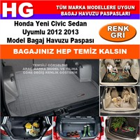 Honda Civic Sedan 2012 2013 Gri Bagaj Havuzu Paspası 38826
