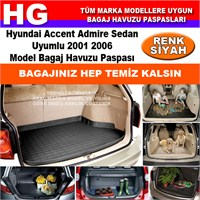 Hyundai Accent Admire 2001 2006 Siyah Bagaj Havuzu Paspası 38834