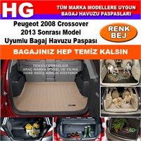 Peugeot 2008 Crossover 2013 Sonrası Bej Bagaj Havuzu Paspası 39004