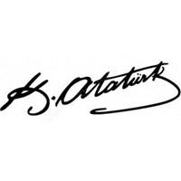 Carat K.Atatürk İmza Sticker 2Adet 8x2cm Beyaz