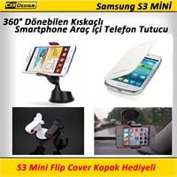 CRD Samsung S3 Mini Kıskaçlı Araç İçi Telefon Tutacağı (360° Dönebilir)