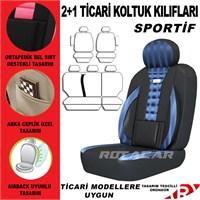 Rotacar Fiat Doblo Koltuk Kılıf Setiı 3N Ortapedik - Mavi Siyah