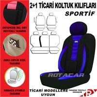Rotacar Peugeot Partner Koltuk Kılıf Seti 3N Ortapedik - Mavi Siyah