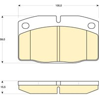 Bosch - Fren Balatası Ön (Opel Corsa A Cc/Tr (09/82-03/93) [Wva 20514] - [ 100X59x15,5 Mm ] - - Bsc 0 986 Tb2 003