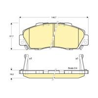 Bosch - Fren Balatası Ön (Honda Cr-V I (Rd)(10/95-07/02) [Wva 21652] - [ 148,7X57,7X18 Mm ] - İkaz Kablolu - Bsc 0 986 Tb2 649