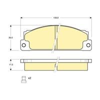 Bosch - Fren Balatası Ön -(Fıat 131(10/74-12/86) [ 108,8X39x17 Mm ] - İkaz Kablolu - Bsc 0 986 Tb2 479