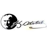 Atatürk Portreli Sticker Siyah 29x9cm