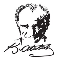 Atatürk Portreli Sticker Siyah 19x14cm