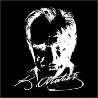 Atatürk Portreli Sticker Beyaz 19x14cm