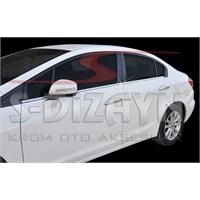 S-Dizayn Honda Civic 2012> Model Ve Üzeri Cam Çıtası 4 Prç. Krom P.Çelik