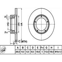 Bosch - Fren Diski Ön [280 / 14-12,6 Mm] (Peugeot J9) - Bsc 0 986 478 770