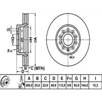 Bosch - Fren Diski Ön (Audı A3 Seat Leon Vw Caddy) - Bsc 0 986 479 088