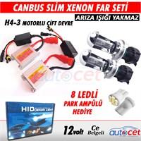 AutoCet Can-Bus H4-3 6000K H/L Çift Devre Motorlu UZUN/KISA Xenon Far Seti 4176a