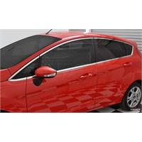 S-Dizayn Ford Fiesta 2 2009 Model ve Üzeri Cam Üst Çıtası 8 Parça Krom Paslanmaz Çelik