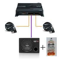 Sony SET-1004NW Amfi,Mid Takımı ve Kabinli Subwoofer Oto Ses Sistemi Seti