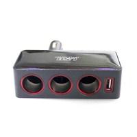 Space USB'li 3'lü ışıklı Çakmak Soketi