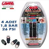 Lampa 1,8 Bar (26 Psi) Lastik Basınç Göstergeli Sibop Kapağı 4 Adet 02482