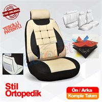 Stil Ortopedik Oto Koltuk Kılıf Seti Bej -Siyah 8100