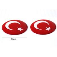 ModaCar Motorsiklet Türk Bayrağı Yuvarlak PVC Sticker 75d012