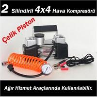 AutoCet 2 Silindirli Çift Piston 4X4 Hava Kompresörü Jumbo Model + TAŞIMA ÇANTALI (11615)