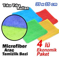 Microfiber Havlu ve Kurulama Temizlik Bezi 4 Lü Eko Paket (11689)