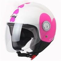 Sway 701 Open Face İtalyan Stil Kalpli Beyaz Unisex Kask - 6 Beden