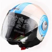Sway 701 Open Face İtalyan Stil Beyaz Mavi Unisex Kask - 6 Model