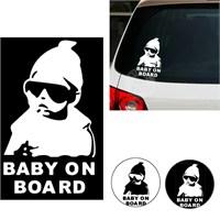 Csı 'Arabada Bebek Var' Fosforlu Sticker-Beyaz