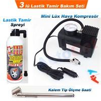 AutoCet 3 Li Lastik Tamir Seti (Hava Kompresör,Kalem Tip Ölçme Saati,Lastik Tamir Spreyi) (51441)