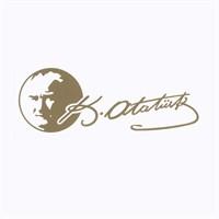Atatürk Siluetli K.Atatürk İmzası Altın Sarısı 19 Cm