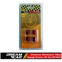 Dreamcar Aluminyum Sibop Kapağı 4'lü Set Kırmızı 8010023