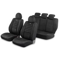 Pufi Nano Teknoloji / Airbag Uyumlu Ortepedik Universal Süet Koltuk Kılıfı - Renk: Siyah