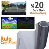 AutoCet 75 cm 60 MT Çizilmez Renkli Rulo Cam Filmi Siyah % 20 Black (MADE IN KOREA)
