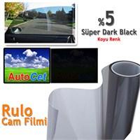 AutoCet 152 cm 60 MT Çizilmez Renkli Rulo Cam Filmi Koyu Siyah % 5 Super Dark Black (MADE IN KOREA)